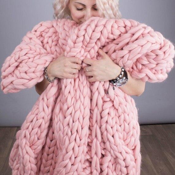 CAMMITEVER 6cm Mode Hand Chunky Wolle Gestrickte Decke Dicke Garn Merino Wolle Sperrige Stricken Werfen Decken Chunky Knit Decke