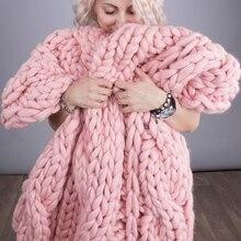 Cammitever 6cm moda mão chunky lã cobertor de malha fio grosso merino lã volumoso tricô lance cobertores chunky malha cobertor