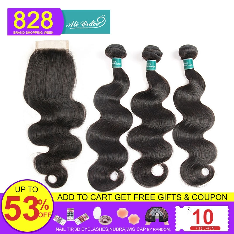 Hair Bundles Closure Body-Wave Ali-Grace Brazilian With 4--4-Free Middle-Part Remy