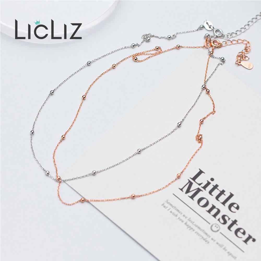 LicLiz ใหม่ 925 เงินสเตอร์ลิง Simple GOLD CHAIN สร้อยคอผู้หญิง Rose Gold Link Choker สร้อยคอเครื่องประดับ LN0452