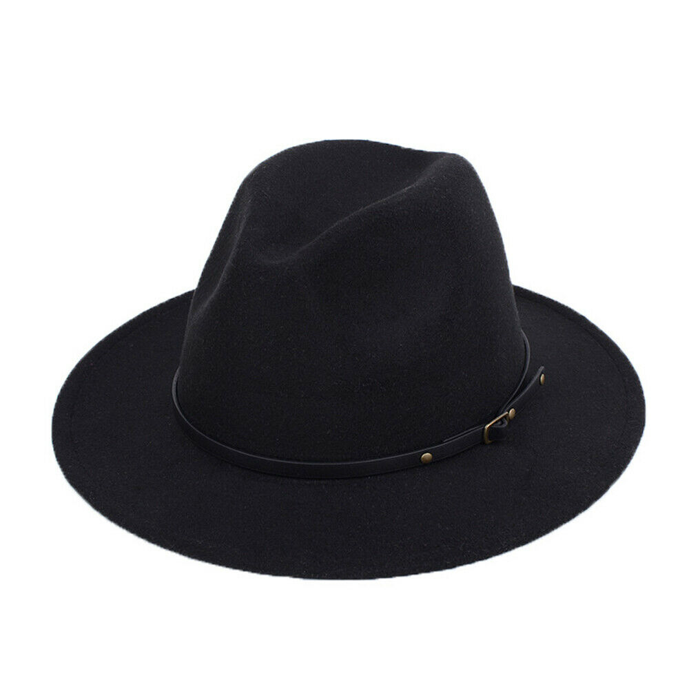 Panama Hat Fedora Cowboy-Hats Felt Orange Wool Khaki Wide-Brim Black Yellow Women's New-Fashion title=