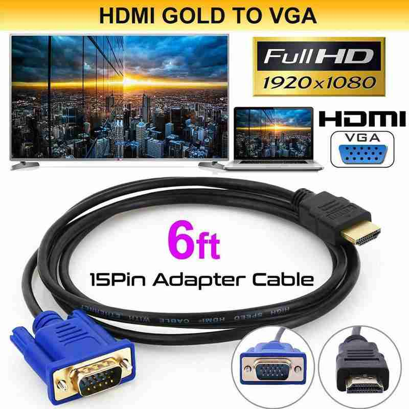 Audio Cable Converter Male To Female 10.2 GB/S PVC HDMI Male To VGA 15 Pin 1.8m For PC Laptop TV HDMI To VGA HD Converter Cable