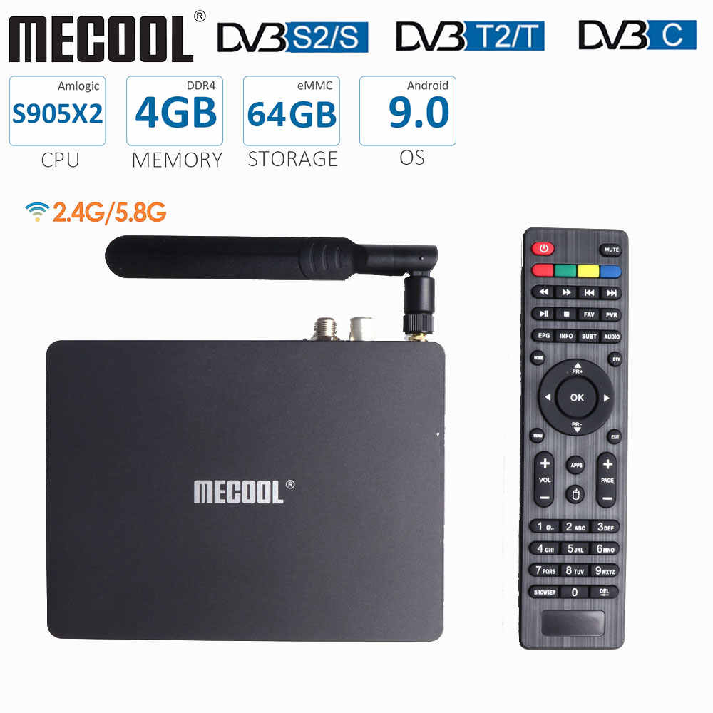 Mecool K7 TV Box Amlogic S905X2 DVB T2 DVB S2 DVB C 4GB DDR4 64GB di ROM Android 9.0 dual WiFi Display A LED Antenna Set Top Box