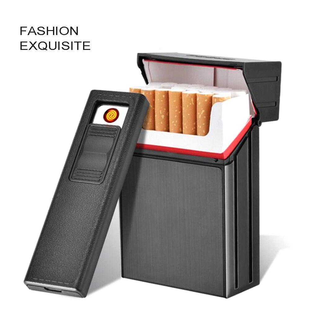 New 20-pack Charging lighter + Metal Cigarette Case USB Charged Electronic Lighter Creative Cigarette Box Cigarette Holder