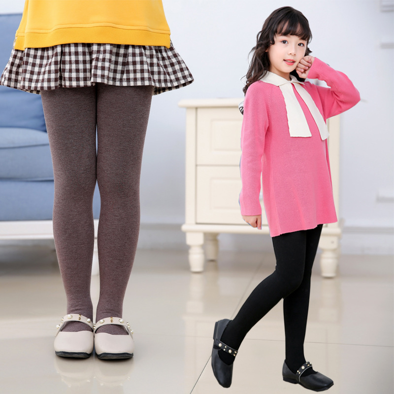 Brushed Thicken Girls Tights for Winter Warm Baby Girls Clothing Children Stockings Solid Kids Pantyhose Cotton Long Stockings 2