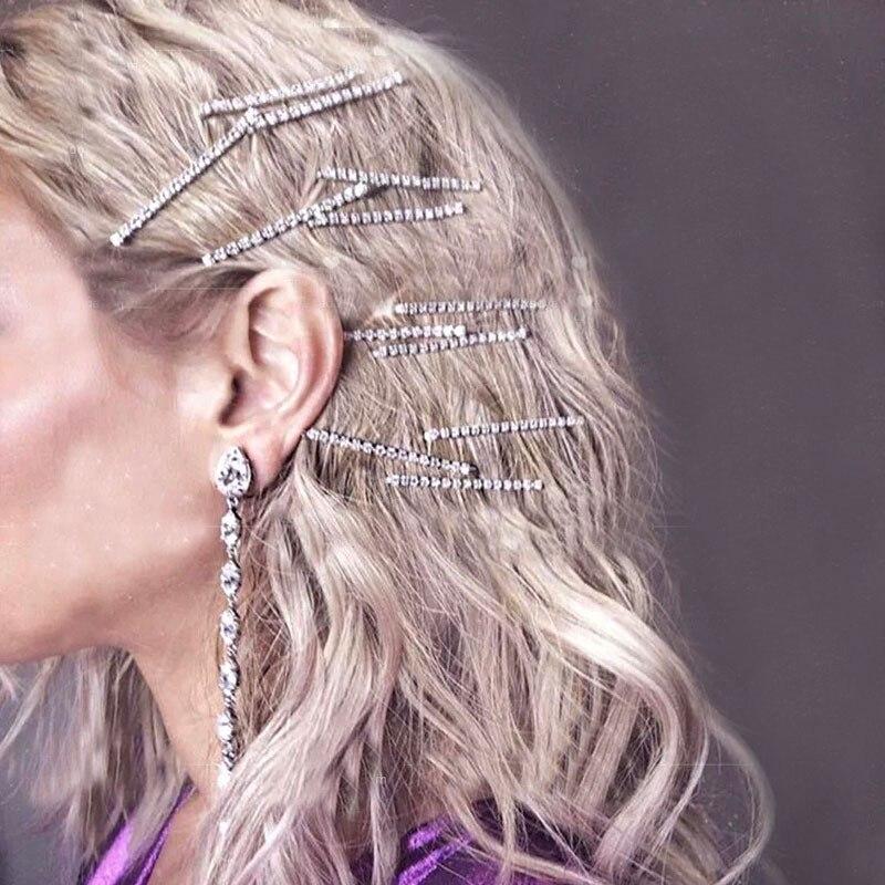 1PC Diamond Shining Hairpins Crystal Shiny Rhinestones Hair Clips Women Hairgrip Headwear Hair Accessories Fashion Styling Tools