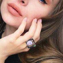 2021 Большое Квадратное кольцо с большим розовым Каплевидным