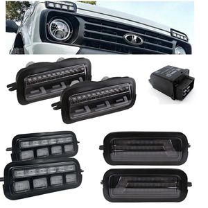 Pair Car Styling Accessories LED Brake Taillight Stop Lights for Lada Niva 4x4 1995 + with Running Turn Signal Light Lamp DRL(China)