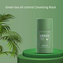 YEŞİL ÇAY arındırıcı kil sopa maske temizleme katı maske yağ kontrolü, anti-akne patlıcan ince katı nemlendirici beyazlatma TSLM1