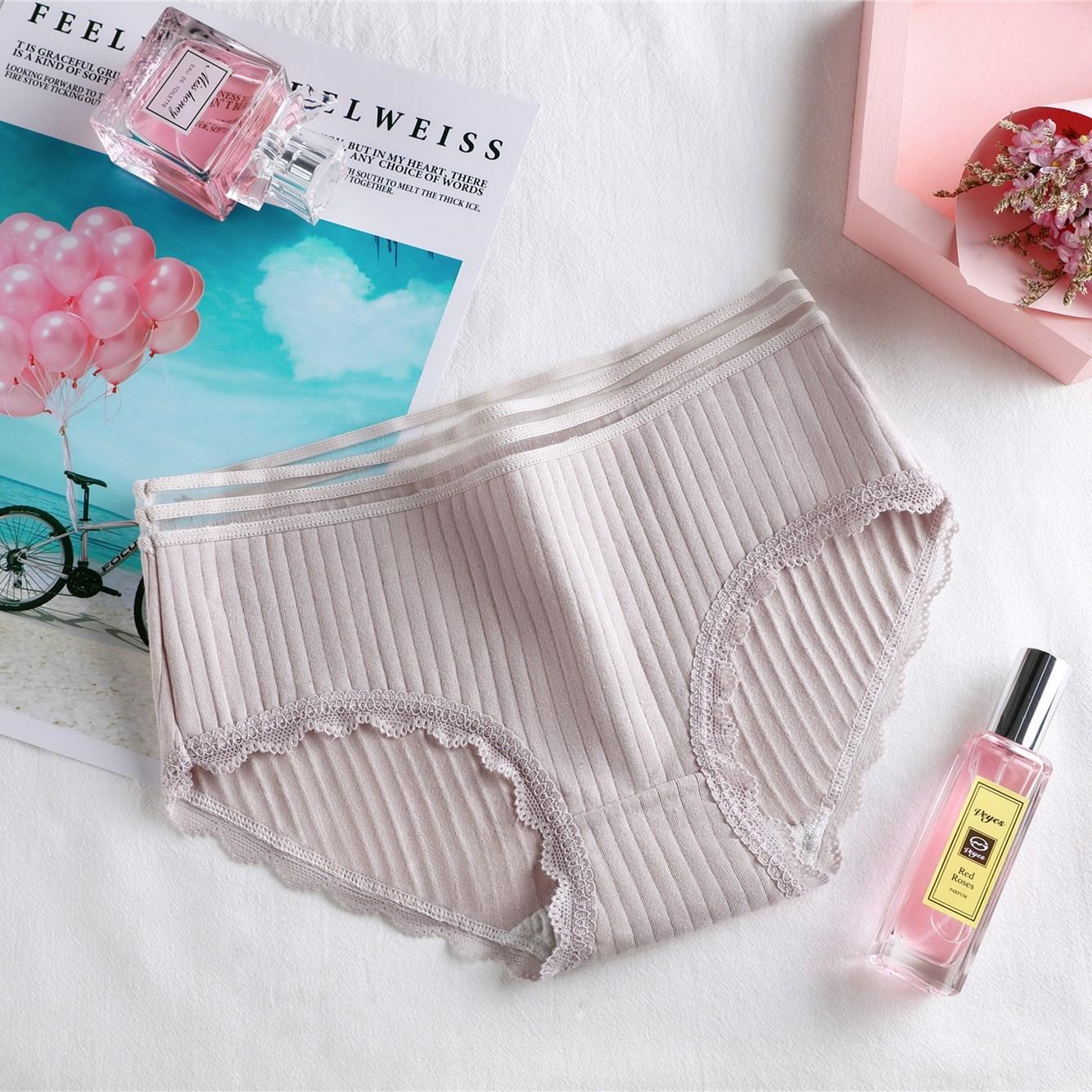 3PCS Women Panties Underwear Cartoon Dot Cartoon Pattern Print Low Waist Soft Cotton Briefs Sweet Stretch Panties Lingerie NEW