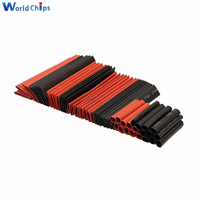 127 adet kırmızı siyah isı Shrink boru poliolefin 2:1 elektrik Wrap tel kablo kollu yalıtım daralan tüp çeşitleri takımı