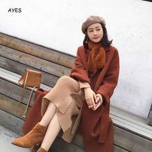 Woman Coats Winter Wool Long Coat 2019 Vintage Fashion Korean Camel Ladies Coats Long Style Woolen Coat Side Split Long Outwear fashion camel open front side pockets longline coat