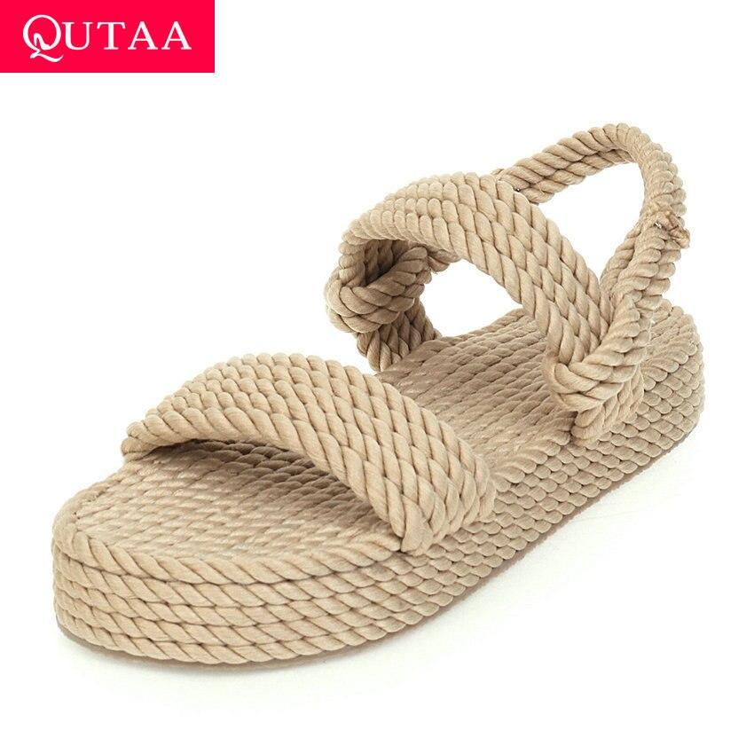QUTAA 2020 Nylon Weave Wedge Heel Ladies Sandals Open-toed Summer Women Pumps Casual Platform Slingback Women Shoes Size 34-43