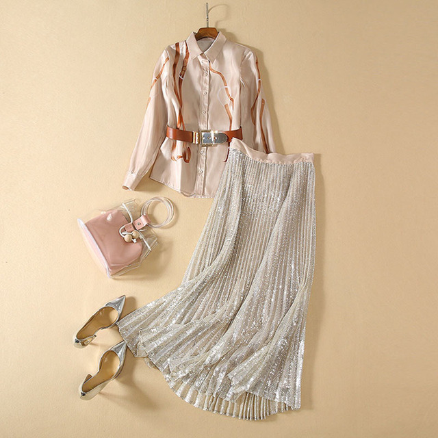 Chemise imprimée à manches longues, pour femme, ensemble élégant, jupe plissée pailletée, de haute qualité, 2020