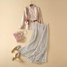 HIGH QUALITY New 2020 Designer Runway Suit Set Womens Long Sleeve Print Bouse Shirt Glitter Sequined Pleated Skirt Set