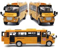 1:32 ölçekli büyük Boy amerika okul otobüsü Diecast Metal araba geri çekin yanıp sönen Model arabalar erkek çocuk oyuncakları koleksiyonu ücretsiz kargo