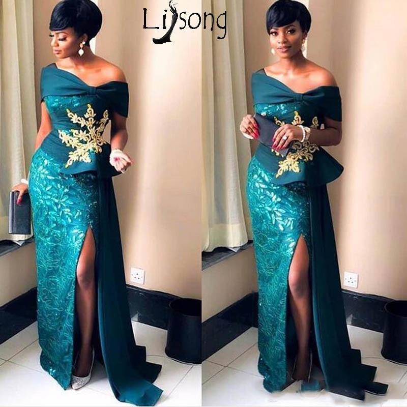 2019 nigéria magnifiques robes de soirée sirène hors de l'épaule Sexy haute fente robe de bal robes formelles avec Appliques en or