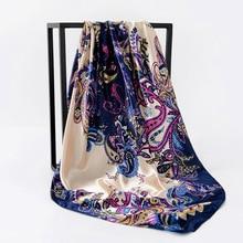 2019 Elegant Kerchief Silk Satin Hijab Scarf For Women Fashion Paisley Print Hair Scarfs 90*90cm Square Scarves and Shawls Wraps square scarf with paisley print
