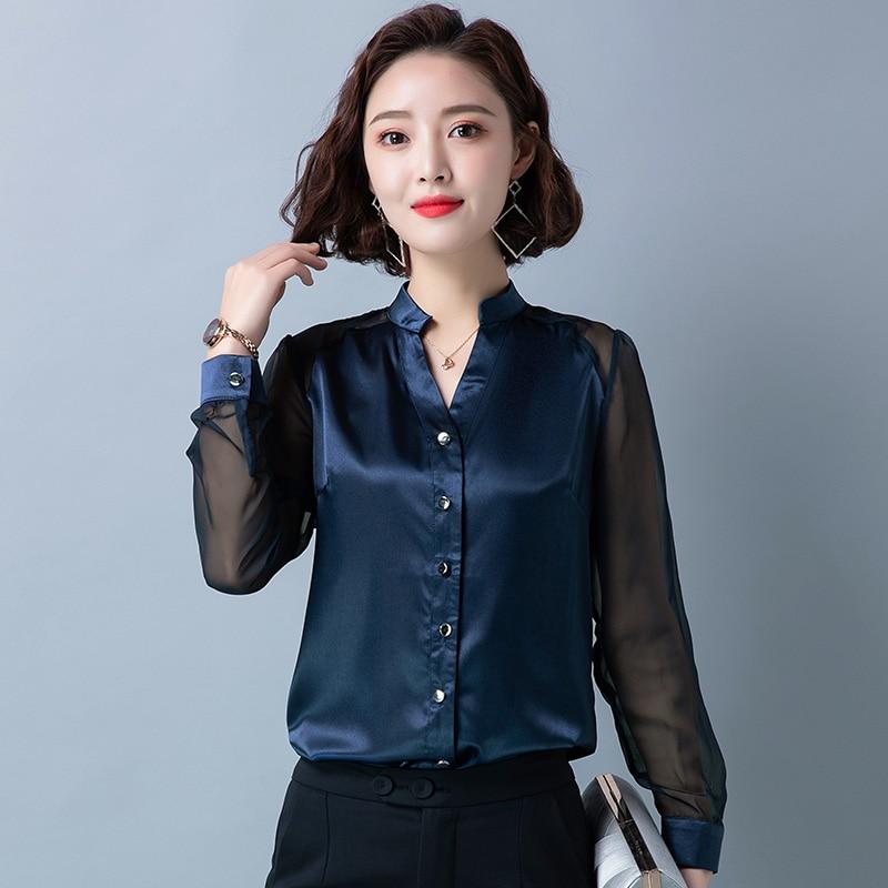 Korean Silk Women Shirts Mesh Long Sleeve Satin Women Blouses Plus Size 4XL Office Lady Womens Tops and Blouses Blusa Feminina