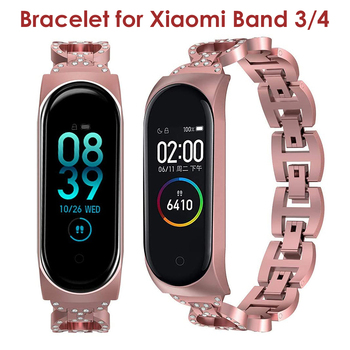 pulseira Mi Band 4/3 Straps Luxury Metal Strap for Xiaomi Mi Band 3/4 Bands Stainless Steel Bands Bracelet correa Replacement