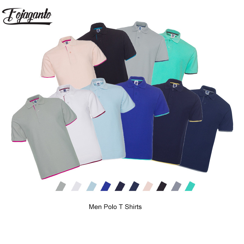 FOJAGANTO Summer New Men Solid Polo Shirt Casual Brand Men's Business Simple Polo Shirt Male Slim Polo Shirts Tops
