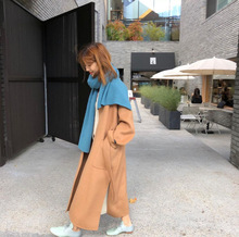 New Pure Wool Overcoat Mid-Autumn and Winter Long Double-faced V-Neck Coat Women