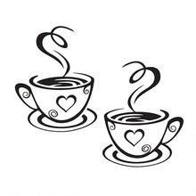 31x19 см ПВХ Стикеры в форме кофейной чашки наклейки на стену красивый дизайн кафе украшения настенный кухонный арт паб наклейки на стену