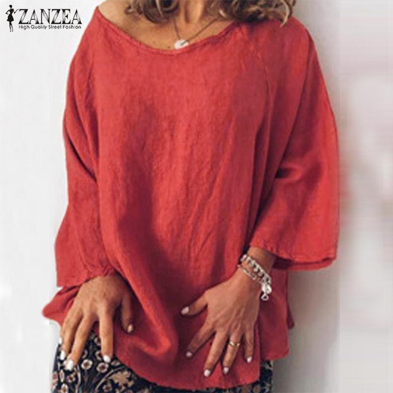 ZANZEA Fashion Autumn Blouse Women Long Sleeve Solid Blusas Femininas Basic Tops Robe Loose Chemise Tunic 5XL Cotton Linen Shirt