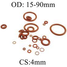 4 мм толщина силиконового каучука уплотнительное кольцо 15-90 мм OD красный теплостойкость уплотнительные прокладки