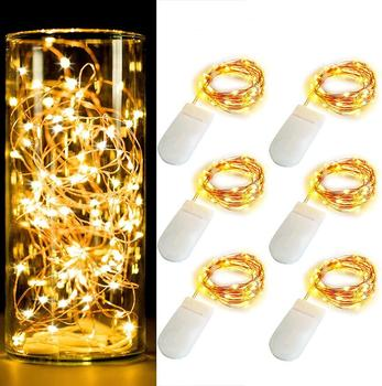 5M 50 Leds Battery Box Copper Wire LED String lights Holiday lighting Fairy Garland For Christmas Tree Wedding Party Decoration 2pcs led string lights 3 metre 30 leds starry copper wire fairy string lights for holiday party wedding christams decoration