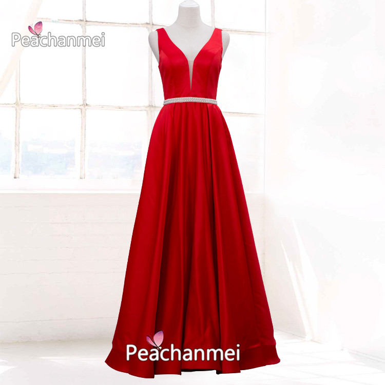 Real Photos Formal Evening Dress Long Beaded Pearls Robe De Soiree Prom Dress V-Neck Satin A Line  Sash Elegant Sexy Ball Gowns