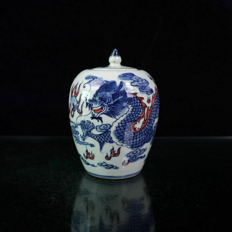 Chinese old porcelain Blue and white glaze in red dragon lid jar Receiving  pot