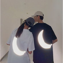 Reflective Moon Novelty Cool Fashion Couples Matching Summer T Shirt Short Sleeve O Neck Unisex Tops 2021 New Men Women Clothing
