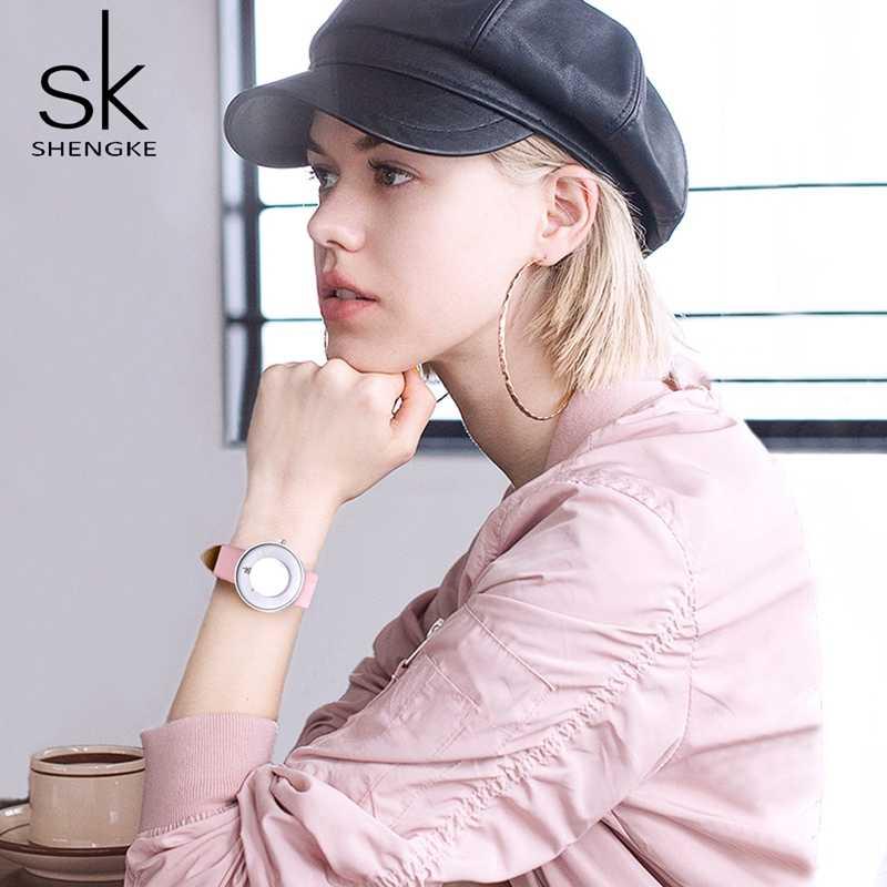 Marca Shengke relojes de moda para mujer espejo creativo con correa de cuero resistente al agua relojes de cuarzo femeninos + caja de regalo