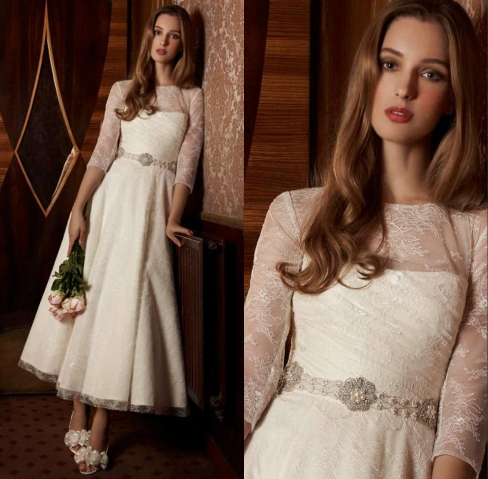 Bridal Gowns 2016 New Sexy Ankle-length Lace Wedding Dress Crystal Sashes Vestido De Noiva Brides Dresses Three Quarter Sleeves