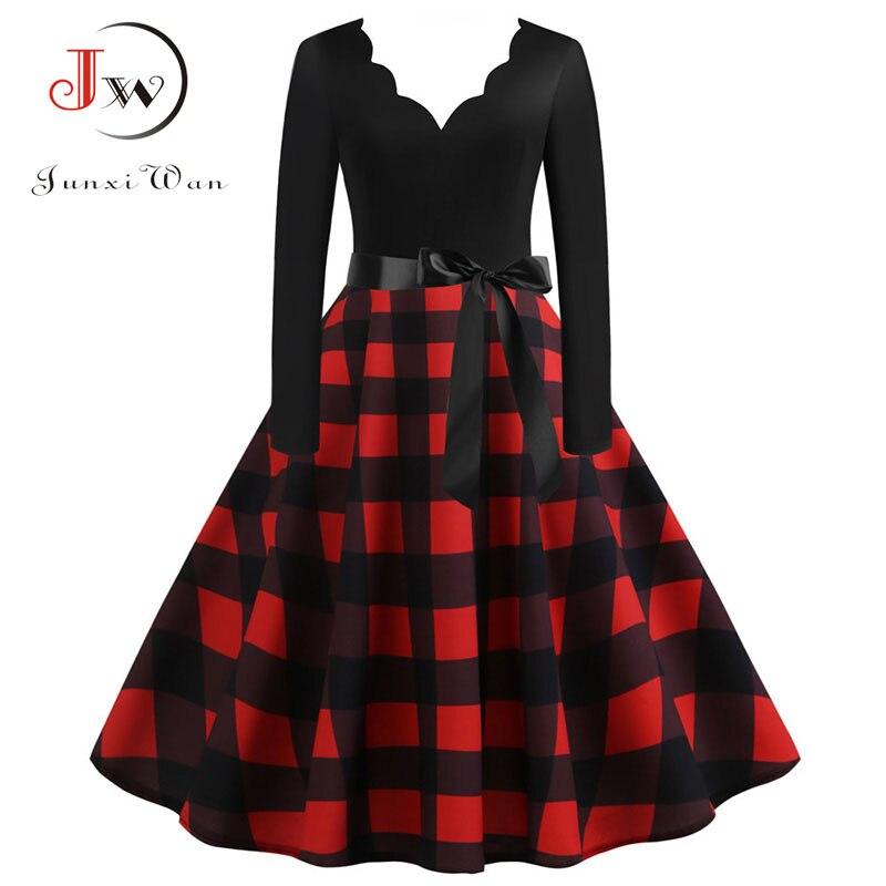 Vestido de invierno con estampado de cuadros negro de manga larga Vintage para fiesta de Navidad Pin up Rockabilly vestido de mujer de talla grande S ~ 3XL