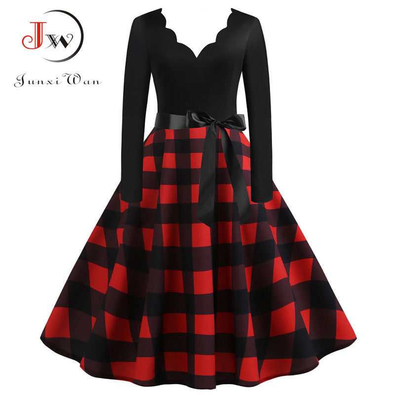 Women Plaid Print Winter Dress Black Long Sleeve Vintage Christmas Party Pin Up Rockabilly Dress Robe Femme Plus Size S~3XL
