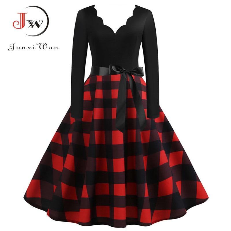 Women Plaid Print Winter Dress Black Long Sleeve Vintage Christmas Party Pin Up Rockabilly Dress Robe Femme Plus Size S~3XL
