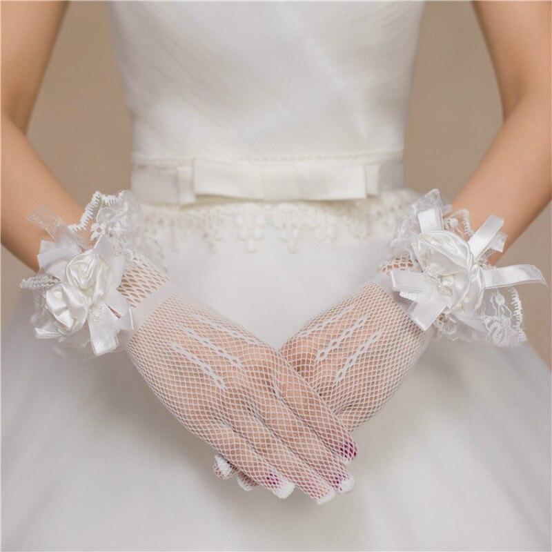 1PCS Short Bride's Wedding Gloves Red White Lace Mesh Gloves Bride's Wedding GlovesPCS