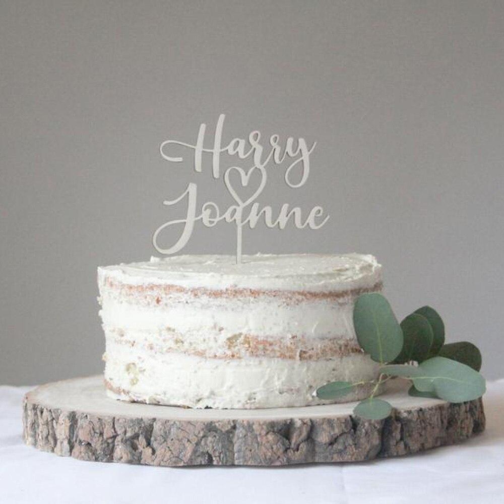 Индивидуальный милый Топпер для свадебного торта в форме сердца, декоративный Топпер для свадебной вечеринки в виде сердца, Персональный С...