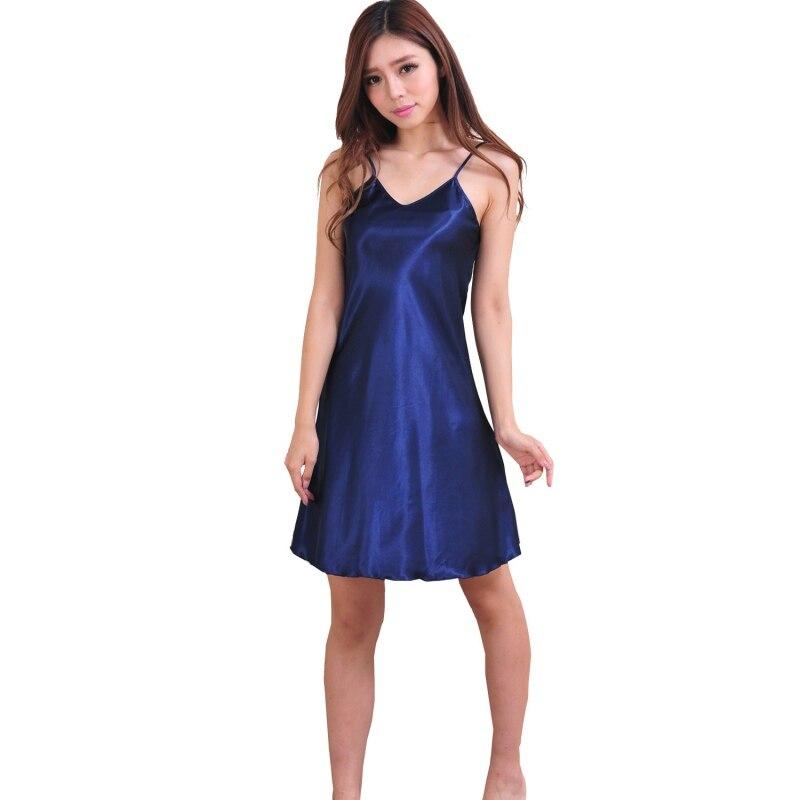 Sexy Girls Sleepwear Nightshirts Satin Chemises Slip Sleepwear Women Sleep Nightgowns Sleepshirts #25