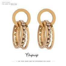 Yhpup Trendy ze stali nierdzewnej okrągłe warstwowe kolczyki Hoop dla kobiet wysokiej jakości Bling Cubic kolczyki z cyrkoniami biżuteria prezent 2021