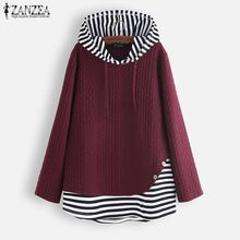 Tunic Tops Shirts Hoodie Blouse Vintage Zanzea-Spring Long-Sleeve Blusas Women Patchwork