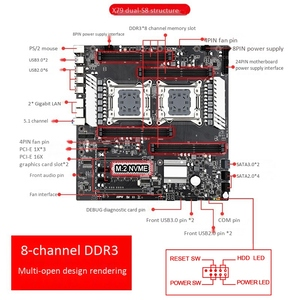 Image 2 - Placa mãe x79 s8 E ATX, dual cpu lga2011 suporte para intel dual e5 v1/v2 ddr3 1333/1600/1866mhz 256g m.2 nvme sata3 usb 3.0,