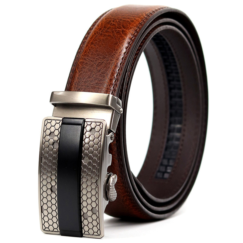 CETIRI Men's Formal Wear Fashion Belt Suede Leather With Metal Automatic Buckle To Make Excellent Top Belt