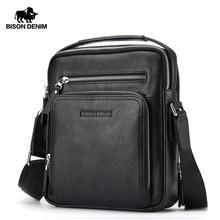 BISON DENIM Genuine Leather Men Bags Ipad Handbags Male Messenger Bag Man Crossbody Shoulder Bag Men