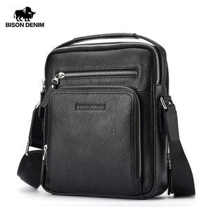 Image 1 - バイソンデニム本革メンズバッグipadハンドバッグ男性メッセンジャーバッグの男のクロスボディショルダーバッグ旅行用バッグN2333