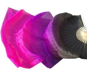 Image 4 - Velos de seda Real hechos a mano para niños y adultos, largo para baile ventilador plegable con llama de bambú, velo de arte colorido, Morado, rosa, 120cm, 180cm