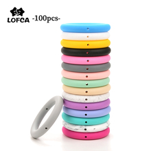 LOFCA 100pcs 65mm Round Teething Ring Food Grade Baby Silicone Beads BPA-Free Silicone Teether  DIY Necklace Pendant Accessory