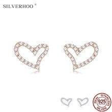 Silverhoo 925 prata esterlina oco coração parafuso prisioneiro brincos para as mulheres 3 cores completa zircão brinco romântico aniversário jóias